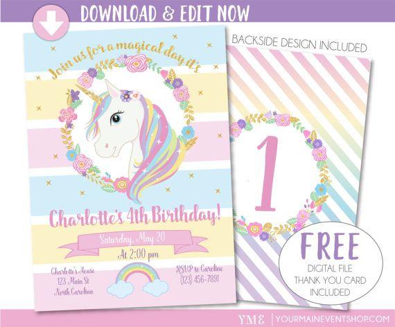 Unicorn Invitation Unicorn Party Invite Magical Rainbow