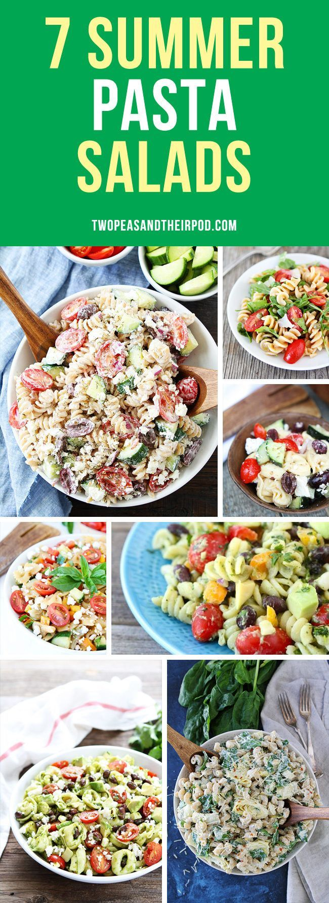 7 Summer Pasta Salad Recipes that are perfect side dishes for barbecues, picnics, and potlucks! You will want to make all of these easy pasta salad recipes this summer!