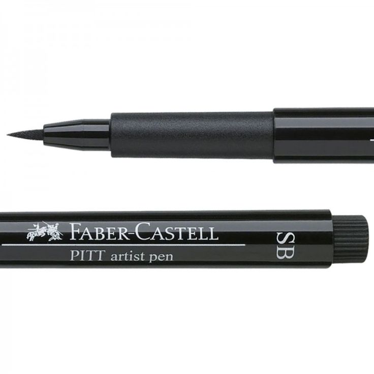 This Faber-Castell PITT Artist pen has a Soft Brush tip which is capable of drawing lines of varying width. This makes it more flexible than a normal bullet-tip marker or a regular brush tip.