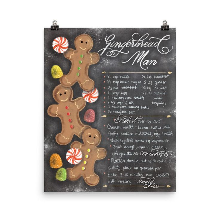 Chalkboard Gingerbread Man Christmas Art Print