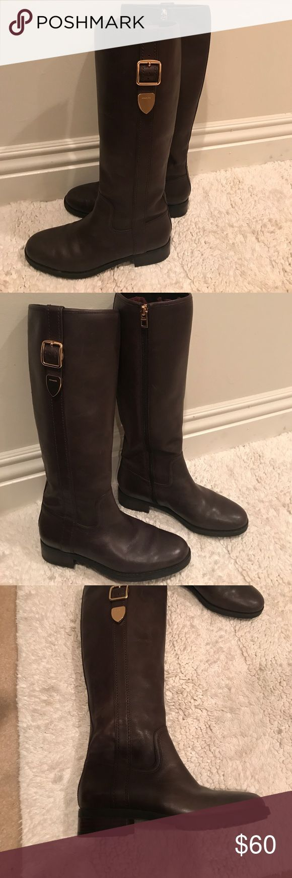 Coach Boots Brown Leather Casual low heeled brown leather boots. Nice leather and very comfortable. Coach Shoes Winter & Rain Boots