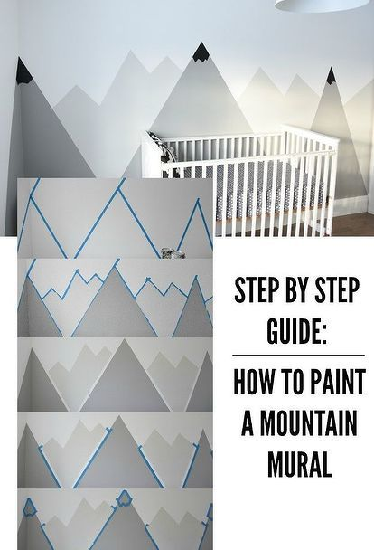 a nursery diy mountain mural, bedroom ideas, crafts, home decor, painting, wall decor