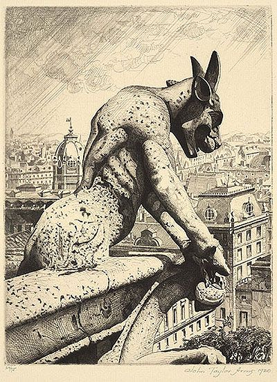 John Taylor Arms (American, 1887-1953). Gargoyle & Quarry, Notre Dame, 1920. Etching. Gift of Mr. Charles M. Thorp, Jr. 64.0480