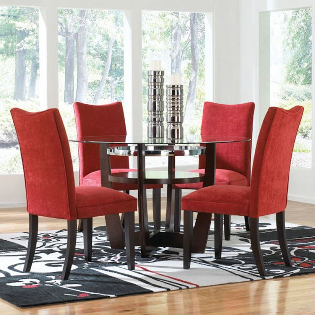 Natural Red Fabric Dining Room Chairs With Unique Round Glass Coffee Table And Nice Area Rug