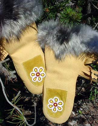 Coyote Trimmed Adult Mitts. This Authentic Canadian mittens are crafted by Cree artisans in Curchill Manitoba.