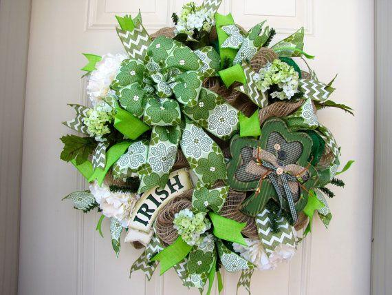St patricks day irish burlap green spring home decor gift for Irish decorations for home
