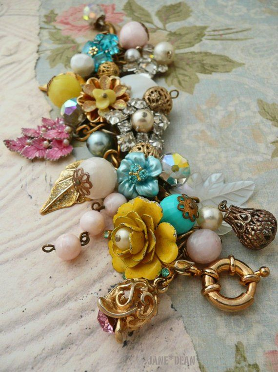bracelet with vintage earrings and jewelry