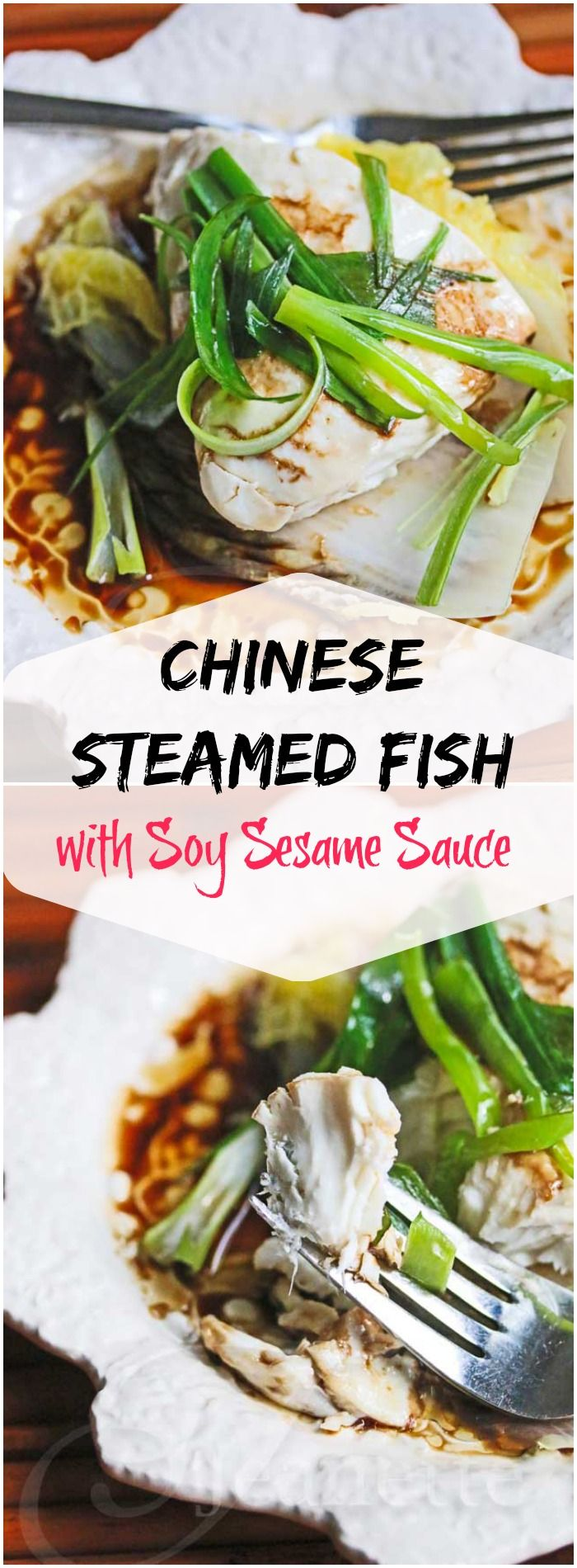 I usually don't like fish, but this looks so good: Chinese Steamed Fish with Soy Sesame Sauce #fish #dinner #video
