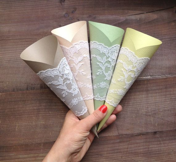 Paper Cones Wedding Lace Wedding Decor Lavander by TheWeddingBirds