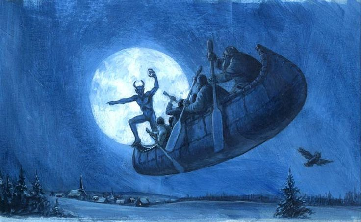 La Chasse-Galerie (The Cursed Canoe)- A deal with the devil and drink are the subject of this French Canadian Folktale