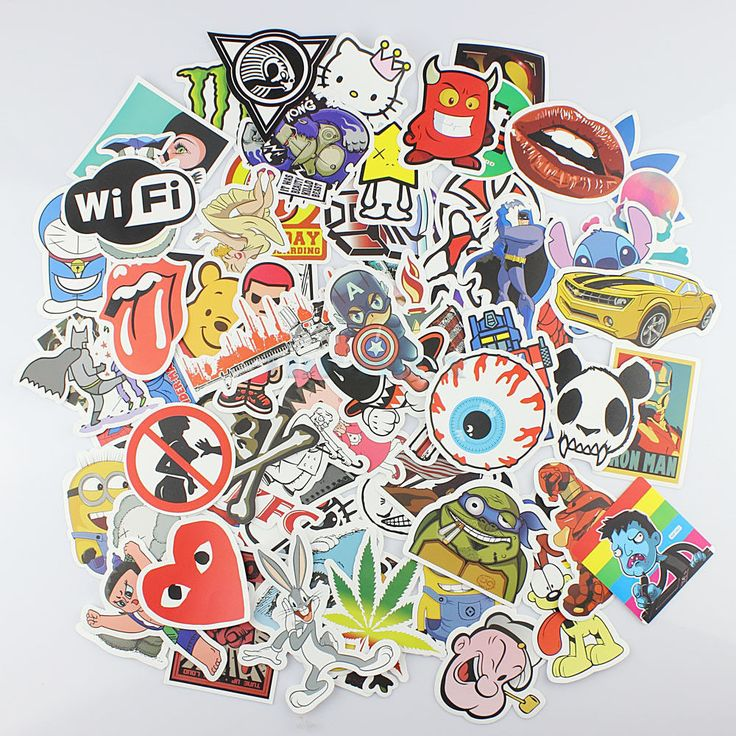 50 stickers skateboard vintage vinyl sticker laptop luggage car decals mix