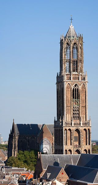 Cathedral Tower of Utrecht is the tallest church tower in the Netherlands, at 112.5 metres (368 feet) in height, and the Gothic-style tower is the symbol of the city.