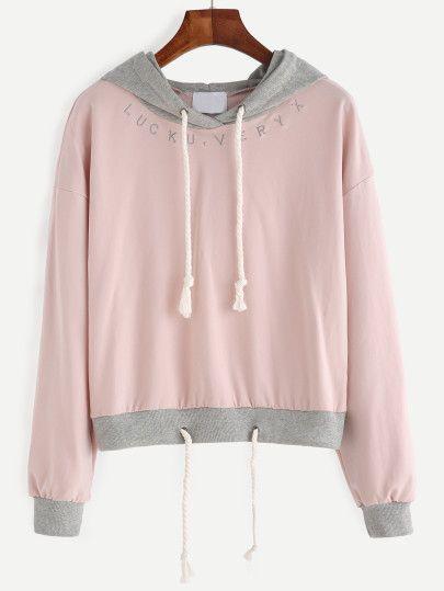 kapuzensweatshirt stickereien tunnelzug rosa kleidung. Black Bedroom Furniture Sets. Home Design Ideas