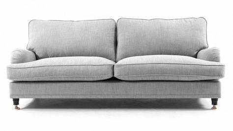 Grå Lejonet howardsoffa. Howard, soffa, dun, linne, mässing, hjul, möbler, inredning, vardagsrum.