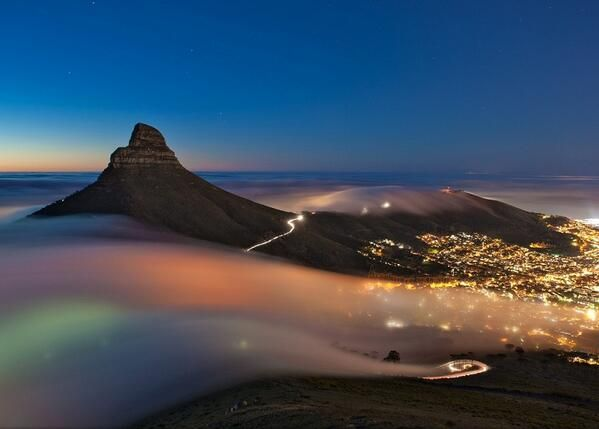 Fog over Cape Town, South Africa...only 1 hour from Franschhoek home of La Clé des Montagnes - 4 luxurious villas on a working wine farm