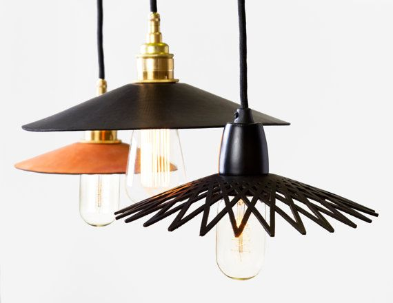 Hide Leather Pendant Light - Large 280mm