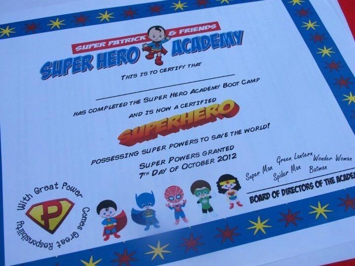 At the end of a superhero academy party, each superhero was given a super hero certificate