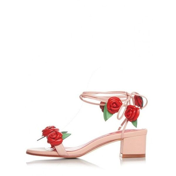Rose Lace-Up Chunky Heel Sandals Pink ($54) ❤ liked on Polyvore featuring shoes, sandals, heeled sandals, pink heeled sandals, rose shoes, lace-up heel sandals and lace up sandals