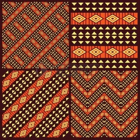Set van tribal Afrikaanse naadloze patronen photo