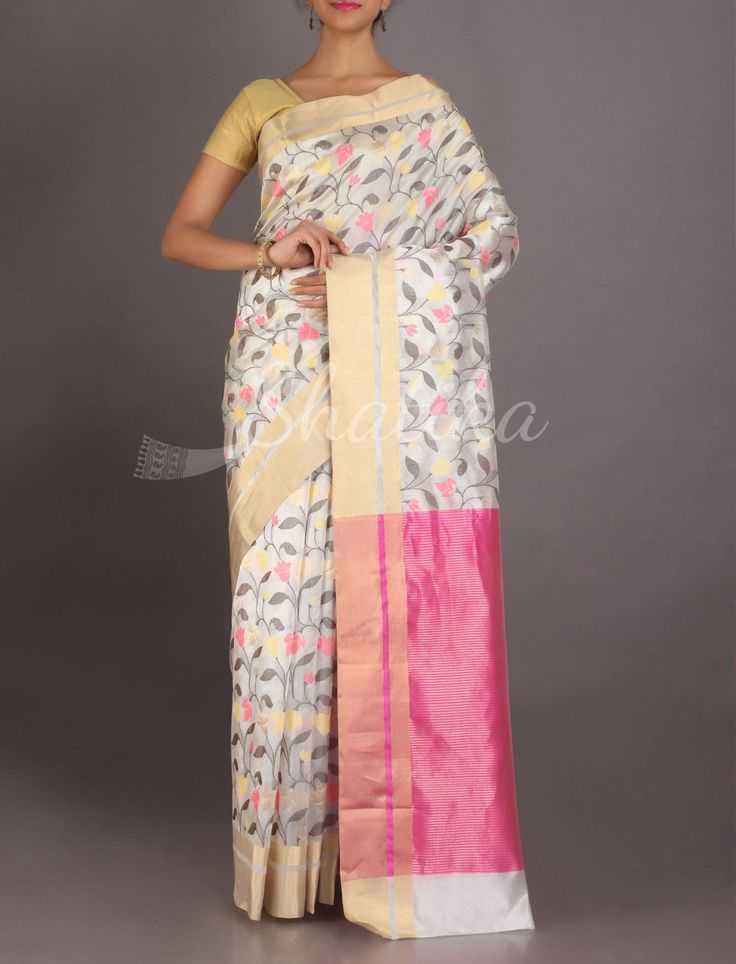 Niya Full Bloom On Splendid White Real Zari #ChanderiPattuSaree