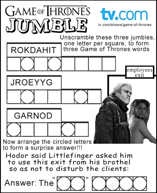 Try our GAME OF THRONES word jumble!