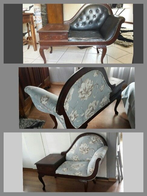 Chaise with attached table ..reupholstered... great transformation