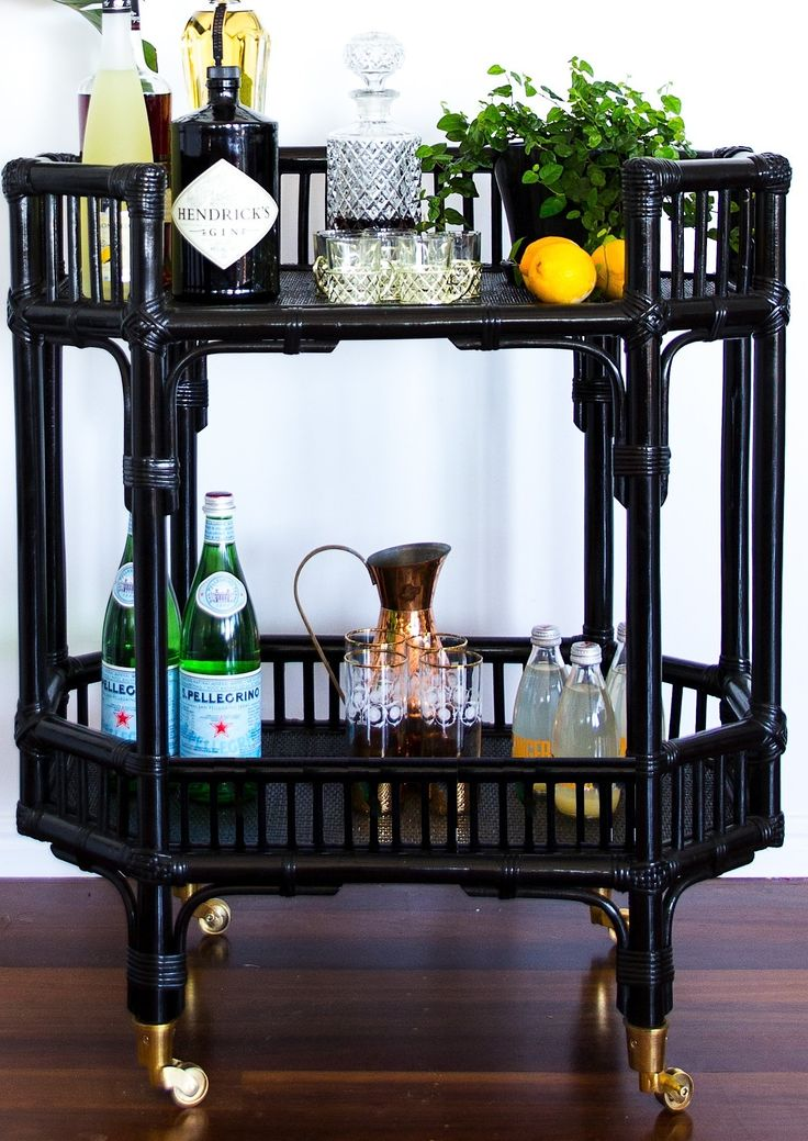 Hamptons, cane Bar Cart/Side Table $399 - Just because it's gorgeous