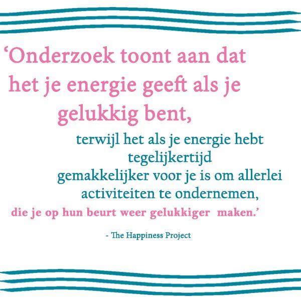 Uit 'Het happiness project' van Gretchen Rubin. Gretchen besluit zich een jaar lang te wijden aan het vinden van geluk. Iedere maand concentreert ze zich op een ander aspect van haar leven en zo probeert ze stap voor stap een gelukkiger mens te worden.