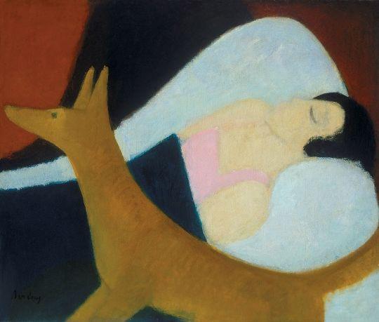 Berény Róbert (1887-1953) Alvó nő rókával, 1920-as évek második fele Olaj, vászon, 75x95 cm
