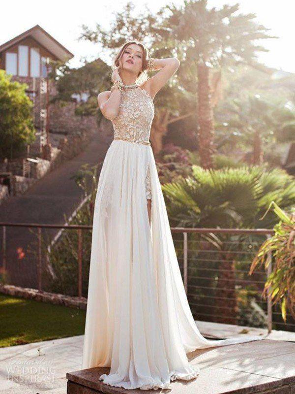 2be93c08f7db A-Line/Princess Halter Sleeveless Lace Chiffon Sweep/Brush Train Dresses -  Hebeos Online
