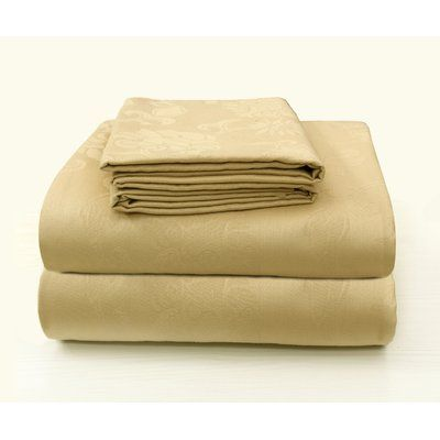 Rosdorf Park Carlene Super Soft Jacquard Designed Bed 100% Cotton Sheet Set Size: California King, Color: Beige
