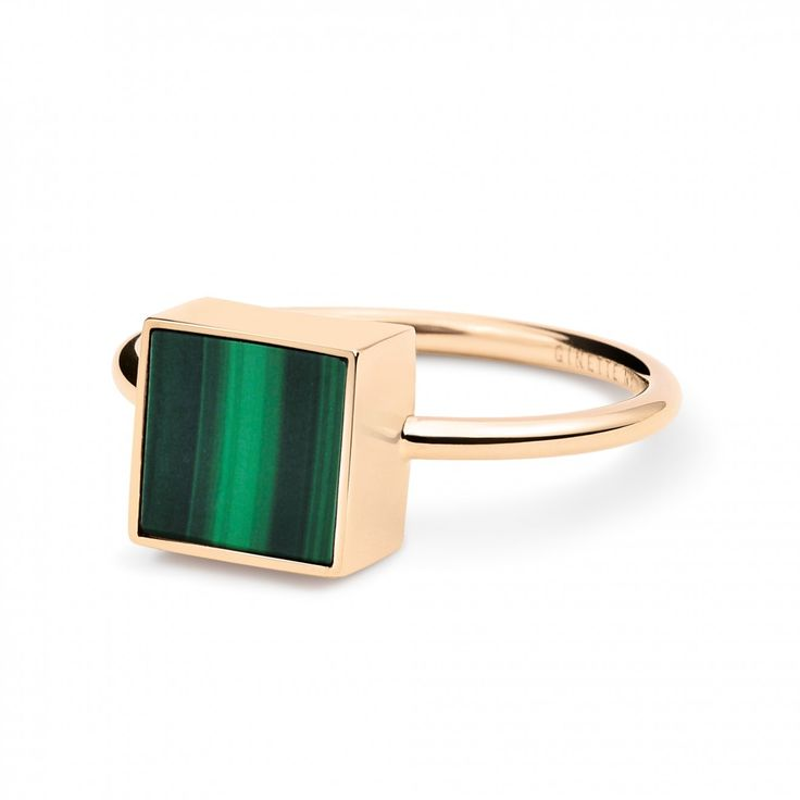 18 carat rose gold and malachite ring  by Ginette NY