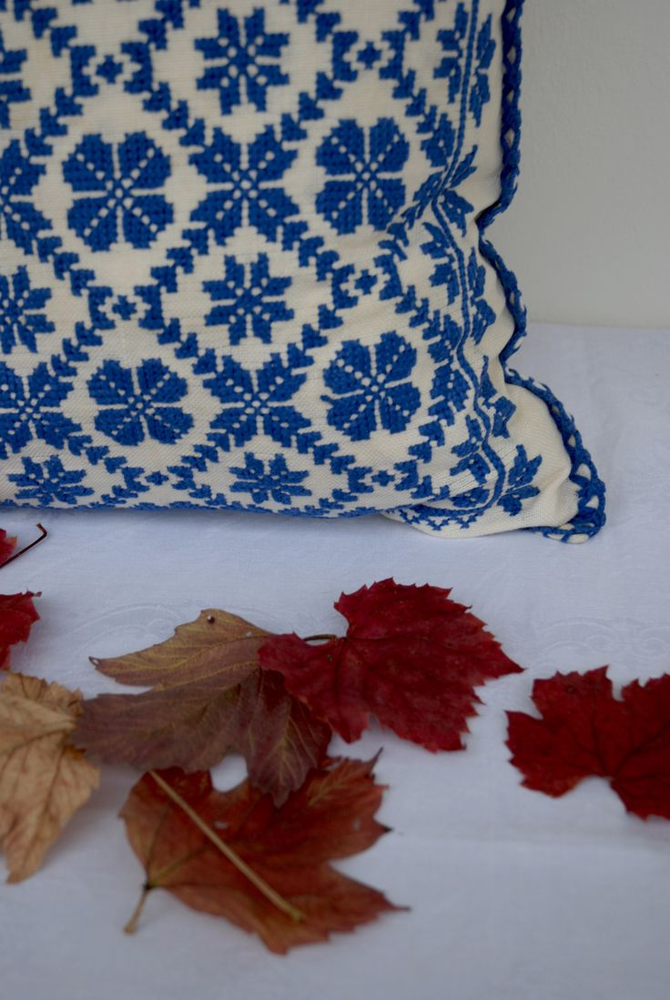 Traditional Pillow Cover. Embroidered by Hand. Hungarian Kalotaszeg. Folk Cushion.