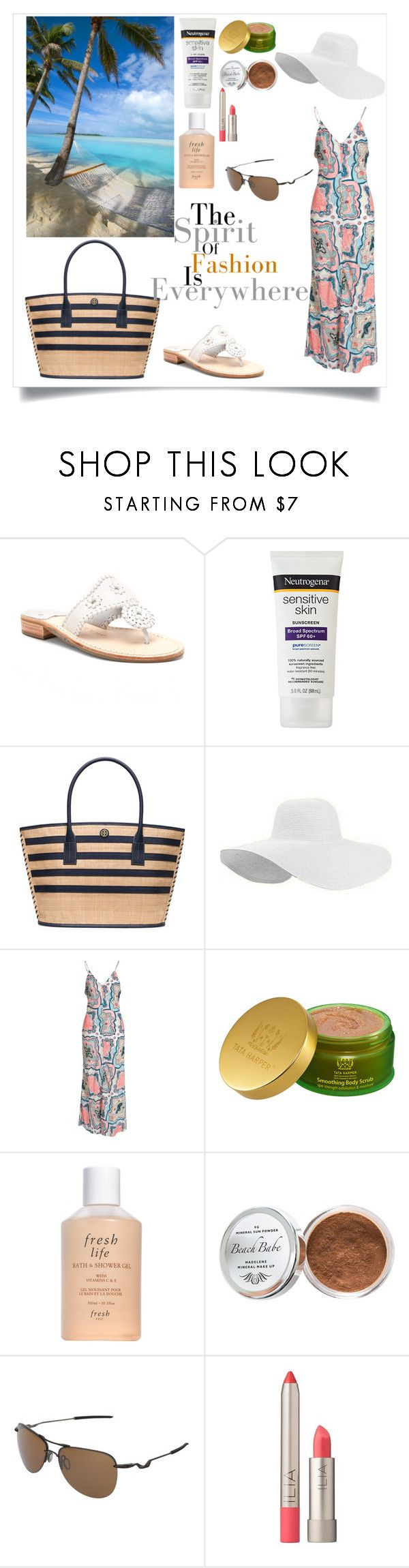 """""""Untitled #3"""" by rcorneliaasabrina ❤ liked on Polyvore featuring Jack Rogers, Tory Burch, NLY Trend, Tata Harper, Fresh, Moyana Corigan, Oakley and Ilia"""