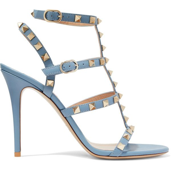 Valentino Rockstud leather sandals ($880) ❤ liked on Polyvore featuring shoes, sandals, strap sandals, light blue sandals, leather sandals, strappy high heel sandals and valentino shoes