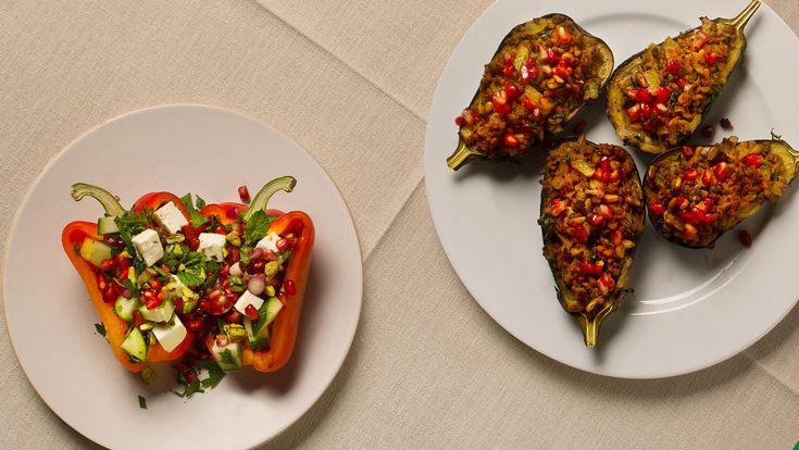 Aubergine met lamsvlees en granaatappel