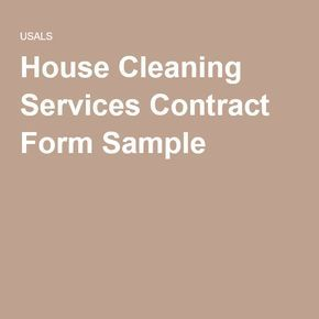 House Cleaning Services Contract Form Sample