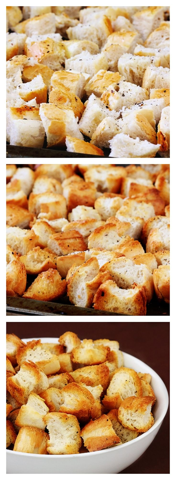 How To Make Homemade Croutons -- it's SUPER easy, and homemade tastes much better than store-bought | gimmesomeoven.com #howto #tutorial