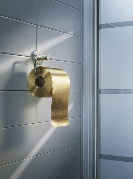 White and Gold Wedding. Golden touch. Yoilet Paper. Bathroom Reception. Xk #kellywearstler