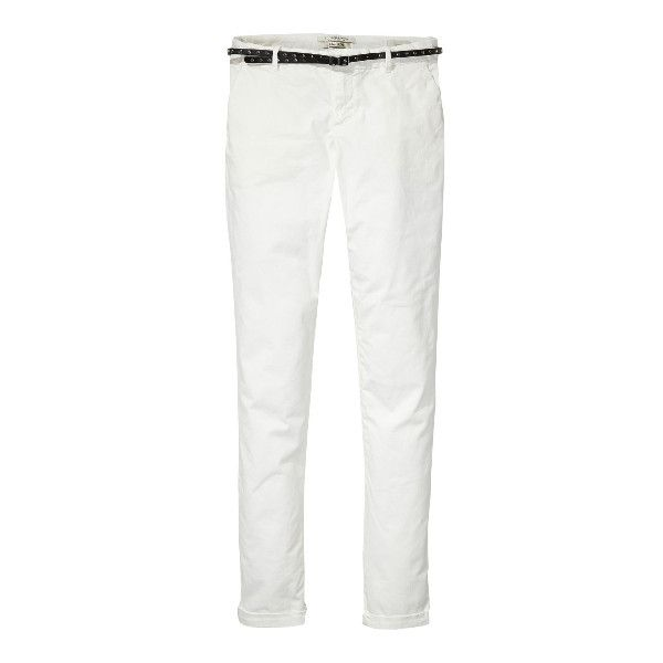 Maison Scotch White Chino Trousers (€51) ❤ liked on Polyvore featuring pants, slim fit pants, stretch belt, chino trousers, slim fit trousers and elastic belt