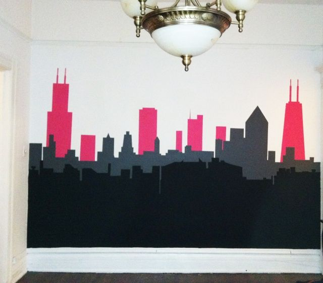 Chicago city skyline painted interior wall mural for Cityscape murals photo wall mural