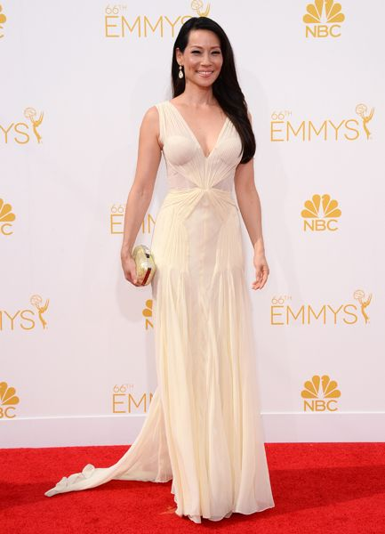 Lucy Liu of Elementaryarrives at the 66th Emmy Awards.