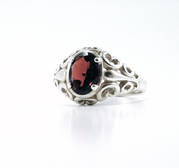 Vintage Garnet in Sterling Silver Ring Size by lalabeautyboutique, $34.95