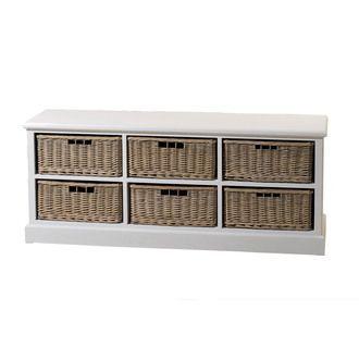 meuble tv bas en bois 6 paniers rotin l148cm orchidee rotin et osier pinterest panier. Black Bedroom Furniture Sets. Home Design Ideas
