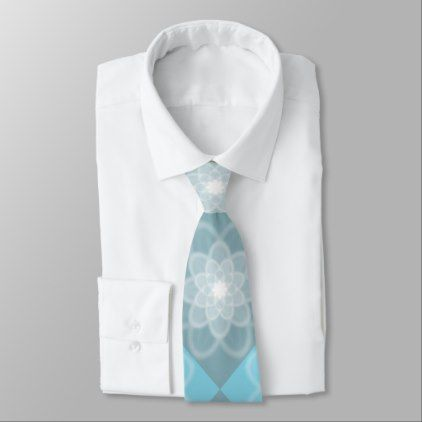 Soft Teal and Gray Floral Fractal Pattern Mens Neck Tie - pattern sample design template diy cyo customize