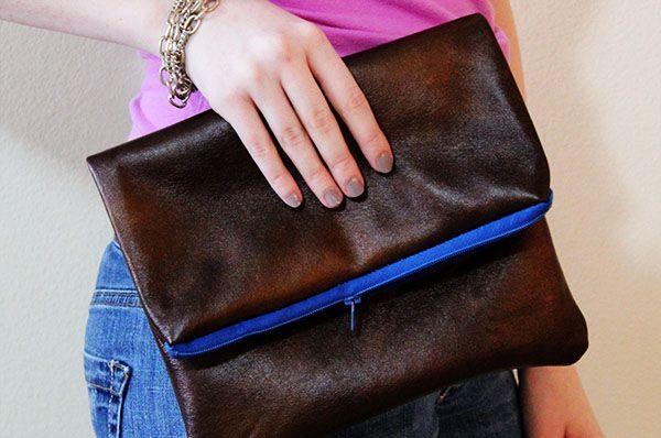 DIY faux leather zipper clutch
