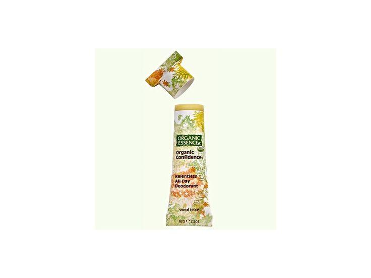BIO tuhý deodorant Organic Essence se sexy kořeněnou, dřevitou vůní esenciálních olejů pomeranče, hřebíčku a patchouli, které mají zároveň výborné dezinfekční a antibakteriální účinky. Bez aditiv, hliníku, vody a alkoholu.