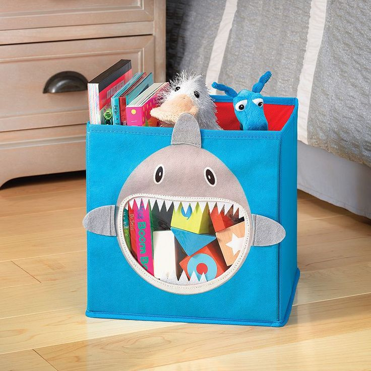 Whitmor Shark Collapsible Storage Cube, Blue