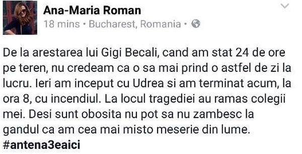 "O alta ""jurnalista"" tampita , JURNALIZDA ANTENA3, ANA MARIA ROMAN, dupa TRAGEDIA din CLUB - NU POT sa nu ZAMBESC"