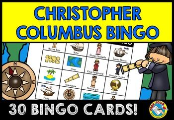 This Christopher Columbus bingo game includes 30 different bingo cards, each containing 16 images with the accompanying captions (except for 1942 image). There is a set of calling cards, containing 16 cards with both words and pictures.   Children will surely enjoy playing this Christopher Columbus bingo game while revising key vocabulary.